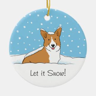 El Corgi Galés del Pembroke lo dejó nevar - perro  Ornamentos De Reyes Magos