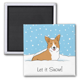 El Corgi lo dejó nevar - perro lindo con el texto  Imán Para Frigorifico