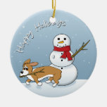 El Corgi roba el ornamento del navidad del brazo d Adorno De Navidad