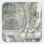 El coro que canta en la basílica de St Mark, Calcomania Cuadrada Personalizada