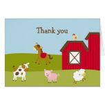 El corral del animal del campo le agradece las tar felicitacion