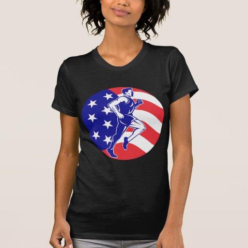 El corredor de maratón americano protagoniza rayas camiseta