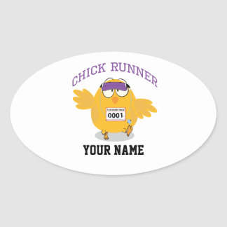 El corredor del polluelo personaliza pegatina ovalada