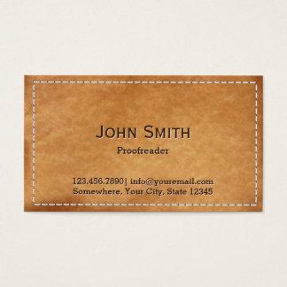 El corregir de cuero cosido con clase tarjetas de visita