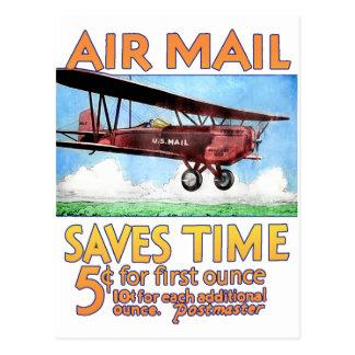 El correo aéreo ahorra tiempo tarjeta postal