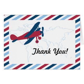 El correo aéreo plano del vintage le agradece tarjeta pequeña