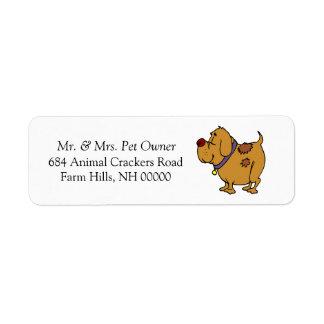 El correo del remite del dibujo animado del perro etiqueta de remite