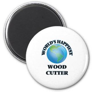 El cortador de madera más feliz del mundo imán redondo 5 cm