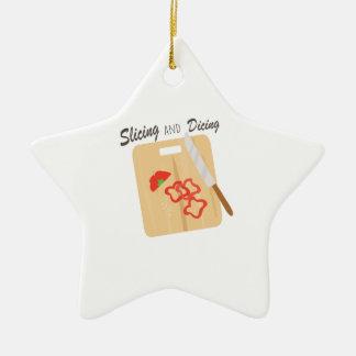 El cortar y corte en cuadritos adorno navideño de cerámica en forma de estrella