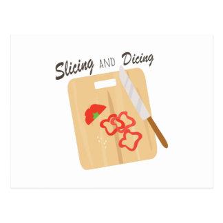 El cortar y corte en cuadritos postal