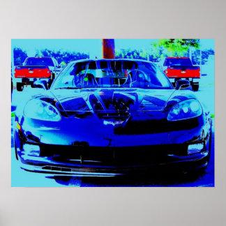 El Corvette negro Z06 del delantero… alteró la fot Póster
