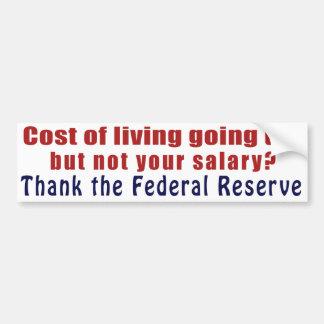 El coste de la vida que sube agradece Federal Rese Pegatina Para Auto