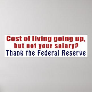El coste de la vida que sube agradece Federal Rese Póster