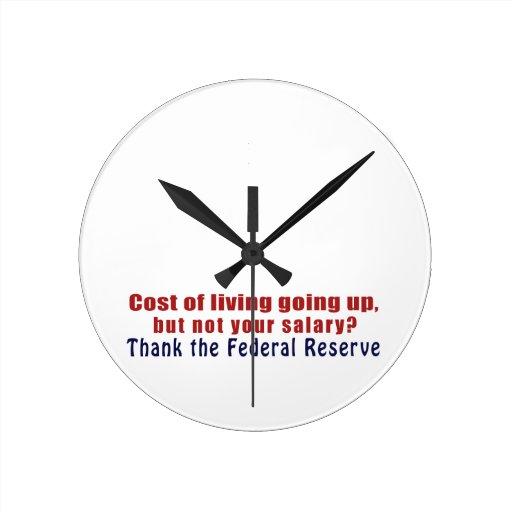 El coste de la vida que sube agradece Federal Rese Reloj De Pared