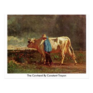 El Cowherd por Troyon constante Tarjeta Postal