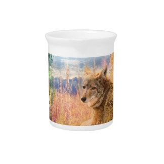 El coyote ajardina el perro al aire libre del jarron