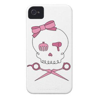El cráneo accesorio del pelo y Scissor bandera iPhone 4 Case-Mate Cárcasa