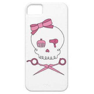 El cráneo accesorio del pelo y Scissor bandera iPhone 5 Carcasa