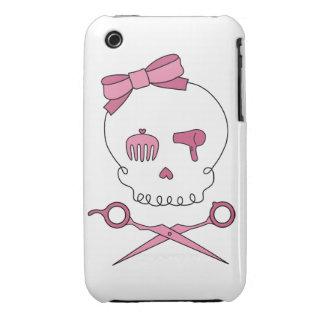 El cráneo accesorio del pelo y Scissor bandera Case-Mate iPhone 3 Fundas
