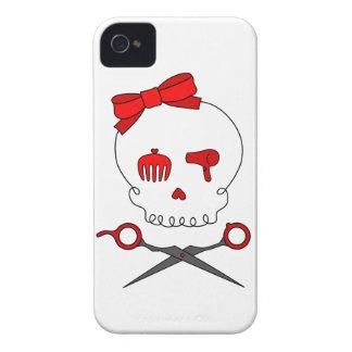 El cráneo accesorio del pelo y Scissor la bandera Carcasa Para iPhone 4