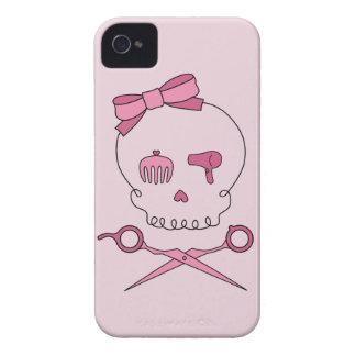 El cráneo accesorio del pelo y Scissor la bandera iPhone 4 Protector