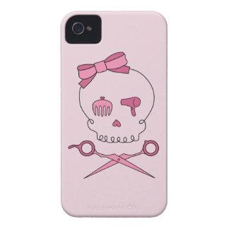 El cráneo accesorio del pelo y Scissor la bandera iPhone 4 Case-Mate Cárcasa
