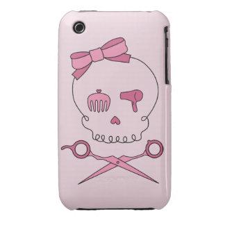 El cráneo accesorio del pelo y Scissor la bandera Case-Mate iPhone 3 Fundas