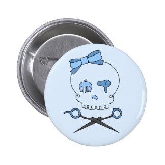 El cráneo accesorio del pelo y Scissor la bandera  Pin Redondo 5 Cm