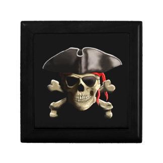 El cráneo alegre del pirata de Rogelio Caja De Regalo Cuadrada Pequeña