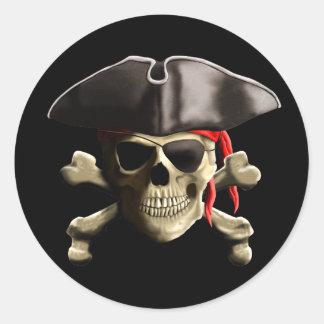 El cráneo alegre del pirata de Rogelio Pegatina Redonda