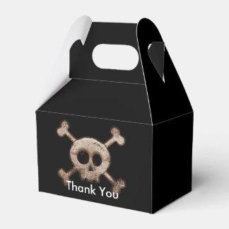 El cráneo apenado deshuesa las cajas del favor de cajas para regalos