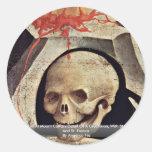 El cráneo de Adán en el detalle del Calvary del Pegatina Redonda