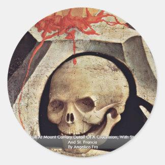 El cráneo de Adán en el detalle del Calvary del so Pegatina Redonda