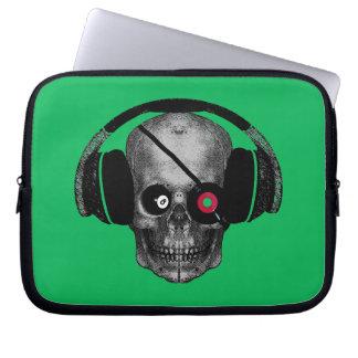 El cráneo de radio DJ del pirata con el vinilo obs Funda Portátil
