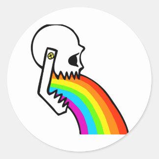 El cráneo del arco iris Puke Pegatina Redonda