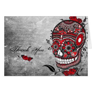El cráneo del azúcar le agradece Notecard Tarjeta Pequeña