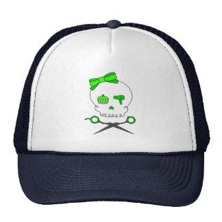 El cráneo del estilista de la verde lima y Scissor Gorra