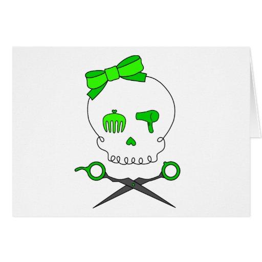 El cráneo del estilista de la verde lima y Scissor Tarjeton