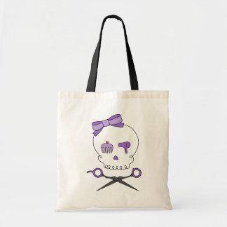 El cráneo del estilista y Scissor la bandera pirat Bolsa De Mano
