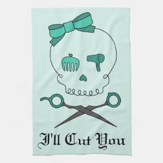 El cráneo del estilista y Scissor la bandera pirat Toallas