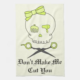 El cráneo del estilista y Scissor la bandera pirat Toalla De Cocina