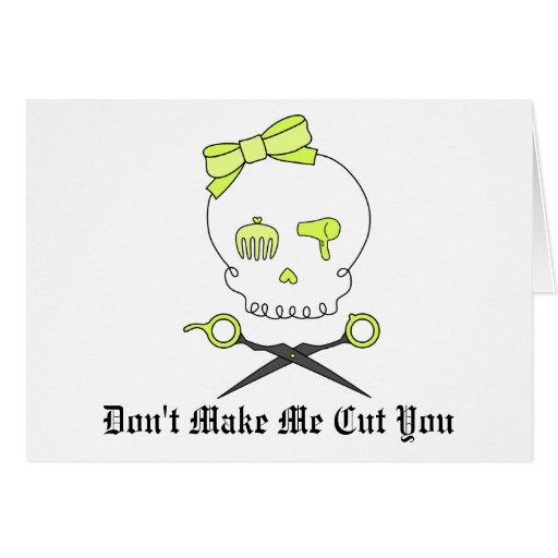 El cráneo del estilista y Scissor la bandera pirat Tarjeta De Felicitación