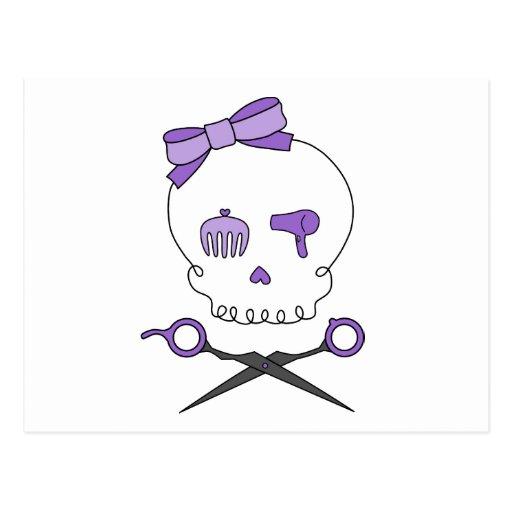 El cráneo del estilista y Scissor la bandera Postales