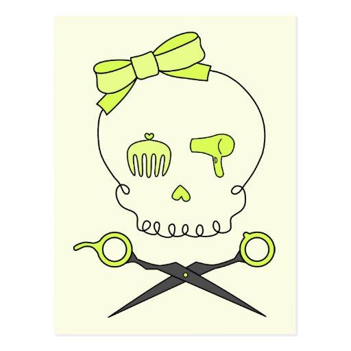 El cráneo del estilista y Scissor la bandera Tarjetas Postales