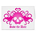 El cráneo del gótico del vampiro en rosa, ahorra tarjeta pequeña