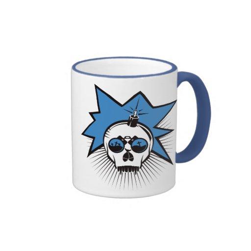 El cráneo estalla - el azul tazas de café