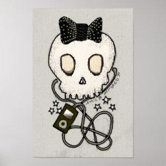 El cráneo femenino con el arco negro/muere por mús póster
