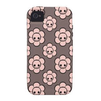 El cráneo femenino del gótico lindo de Kawaii flor Case-Mate iPhone 4 Fundas