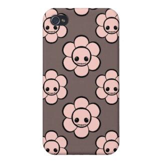 El cráneo femenino del gótico lindo de Kawaii flor iPhone 4/4S Funda