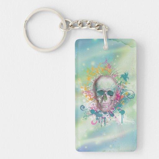 el cráneo fresco salpica el marco floral del vinta llavero rectangular acrílico a una cara